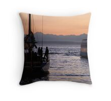 Boats in the sunset Throw Pillow