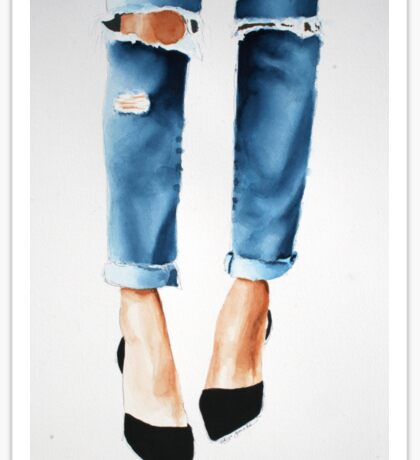 Ripped Jeans watercolour Sticker