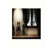 Venice curtains vs hand held video game Art Print