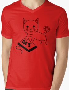 Arcade Kitten Mens V-Neck T-Shirt