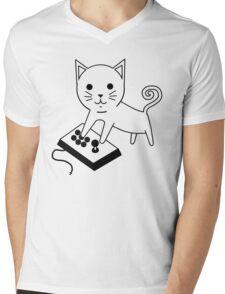 Arcade Kitten Mens V-Neck T-Shirt