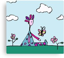 Silly Met A Butterfly. They Discussed The Meaning Of Life. Canvas Print