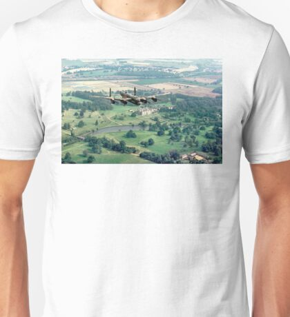 """Lancaster B.1 """"City of Lincoln"""" over Burghley House Unisex T-Shirt"""