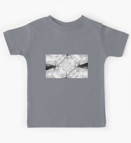 ABSTRACT BLACK AND WHITE FOREST TREE PATTERN Kids Tee