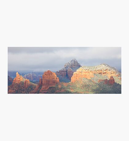 Snowy Red Peaks and Morning Light Photographic Print