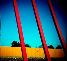 1 Yellow and 3 Red Stripes against a Blue Gradient by Cameron Stephen