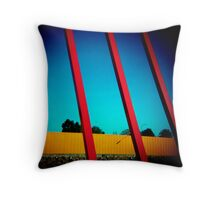 1 Yellow and 3 Red Stripes against a Blue Gradient Throw Pillow