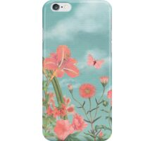 Coral Flowers and Turquoise Sky iPhone Case/Skin