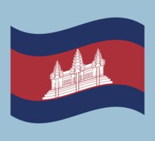 Cambodian Khmer Flag Wave One Piece - Short Sleeve