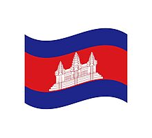 Cambodian Khmer Flag Wave Photographic Print