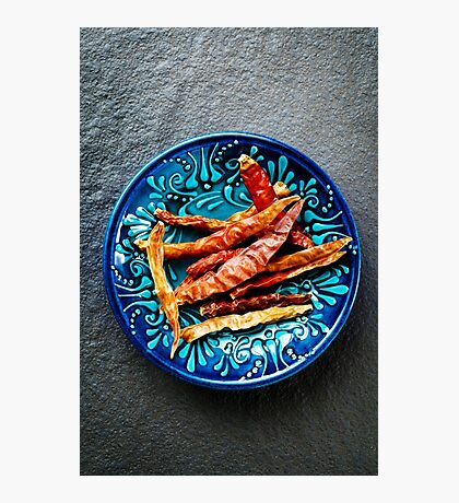 Dried chili red peppers in blue ceramic bowl  Photographic Print