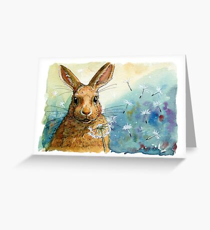 Funny Rabbits - with Dandelions 548 Greeting Card