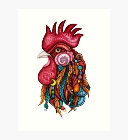 Tribal Rooster Design Art Print