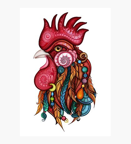 Tribal Rooster Design Photographic Print