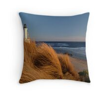 Wind Blown Grasses, Pt Lonsdale Lighthouse Throw Pillow
