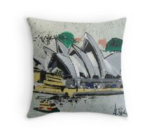 Sydney Opera House - semi-abstract painting Throw Pillow