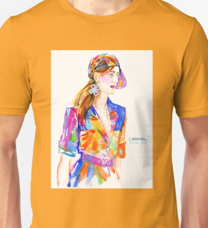 fashion #13: girl in multicolor dress and baseball cap Unisex T-Shirt