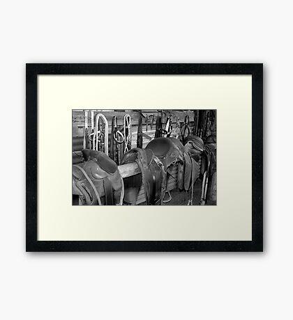 The Stock Saddles Framed Print