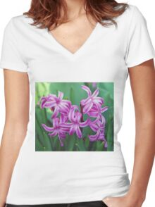 Hyacinth Blossoms Women's Fitted V-Neck T-Shirt