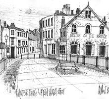 Windsor Eton pedestrian bridge - pen and ink sketch by MrCreator