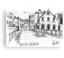 Windsor Eton pedestrian bridge - pen and ink sketch Canvas Print
