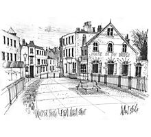 Windsor Eton pedestrian bridge - pen and ink sketch Photographic Print