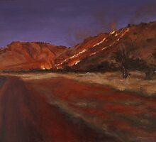 Fireseason II: Oil on Board: 30x37.5cm by alstrangeways