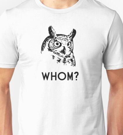 Hoo Who Whom Grammar Owl Unisex T-Shirt