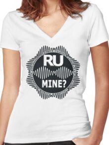 R U Mine? White Text, Blk/Wht Women's Fitted V-Neck T-Shirt
