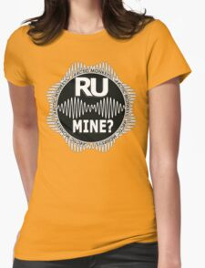 R U Mine? White Text, Gry/Blck Womens Fitted T-Shirt
