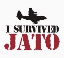 Funny 'I Survived JATO' C-130 Funny Jet Assisted Take Off T-Shirt and Accessories by Albany Retro