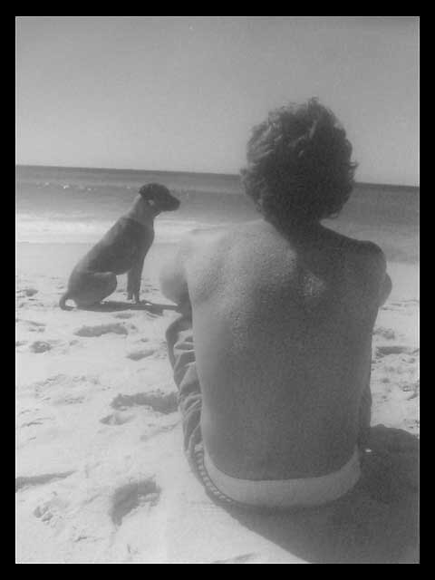 man and dog by shhe