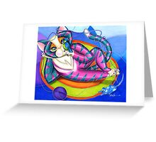 Kitty Gone Tubing Greeting Card