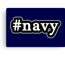 Navy - Hashtag - Black & White Canvas Print