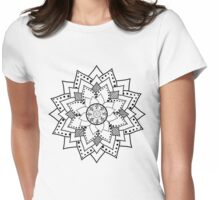 Mehndi / Henna style lotus flower blossom (black) Womens Fitted T-Shirt
