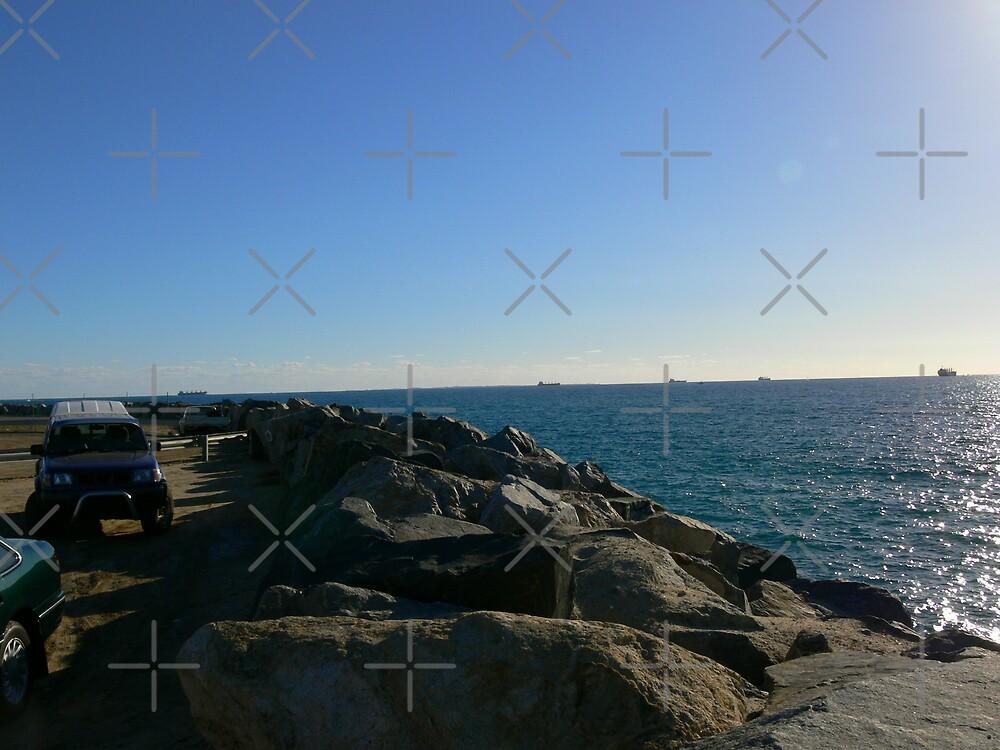 Port Beach Seawall by Sandra Chung