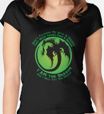 I AM the Dragon (Fade Green) Women's Fitted Scoop T-Shirt