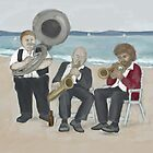 Three Musicians on the Beach  by Kim  Harris