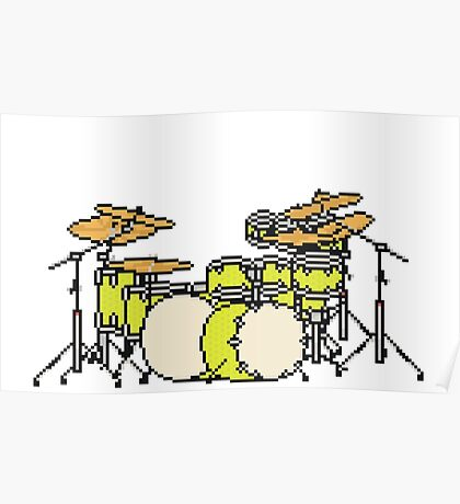 Pixel Yellow Glo Drums Poster