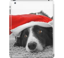 Border Collie Christmas Card - Santa's Little Helper iPad Case/Skin