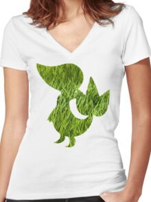 Snivy used Vine Whip Women's Fitted V-Neck T-Shirt