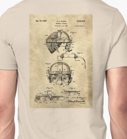 Antique Welders Goggles blueprint drawing, 1938 industrial Unisex T-Shirt