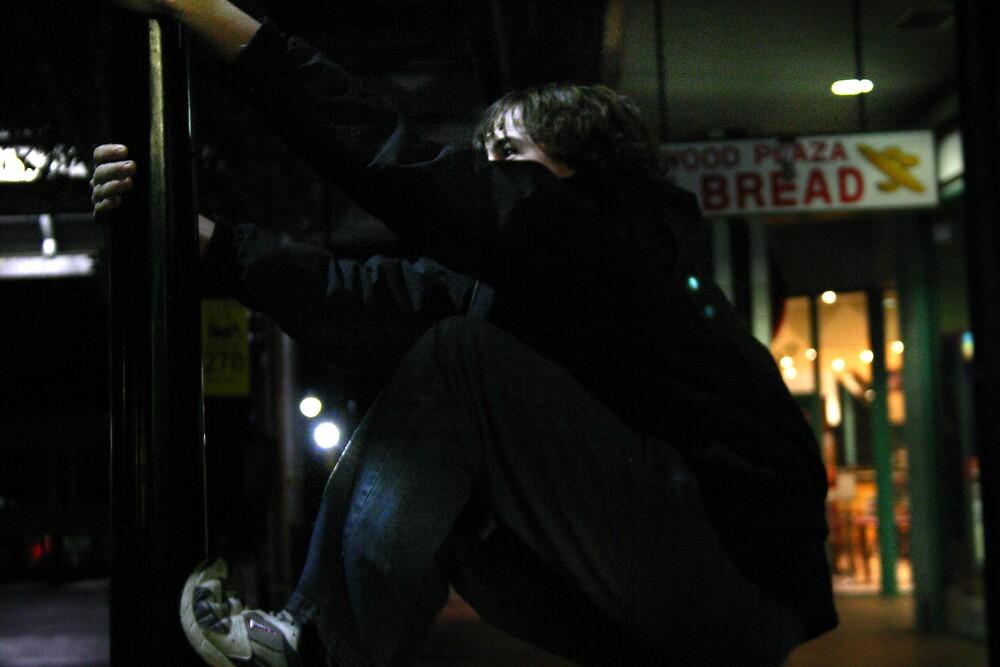 Steve climbing by rick strodder