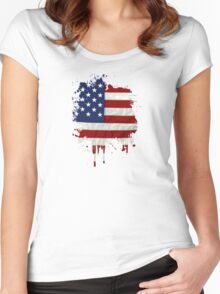 United States Flag Paint Splatter Women's Fitted Scoop T-Shirt