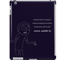 Morty from Rick and Morty explains life in white iPad Case/Skin