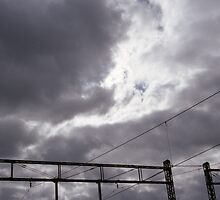 Grey Sky, Railway lines, from the series 'Lost in Transition' by Sarah Mackie