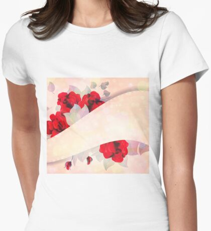 Red roses 3 Womens Fitted T-Shirt