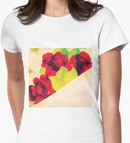 Red roses 4 Womens Fitted T-Shirt
