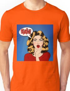 Pop art Style Sale banner. Vintage Girl Shouts Sale in Comics Style Unisex T-Shirt