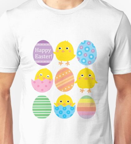 Happy Easter Eggs Cute Chickens Sweet Fun Gifts Unisex T-Shirt